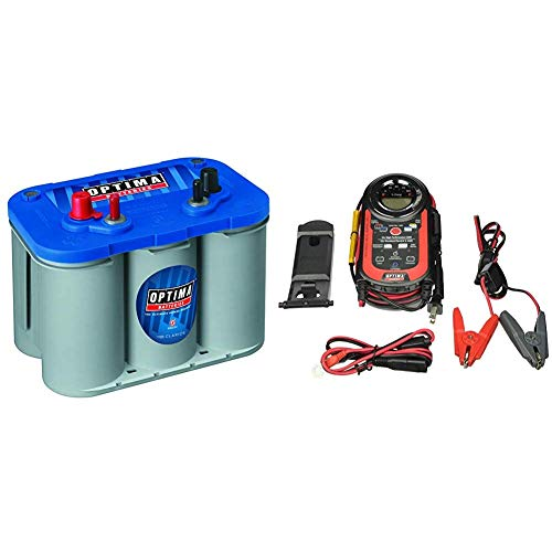 Optima Batteries 8016-103 D34M BlueTop Starting and Deep Cycle Marine Battery + Digital 400 12V Performance Maintainer and Battery Charger - 150-40000