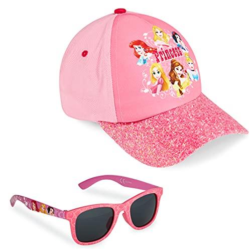 Disney Baseball cap e Occhiali da Sole, Cappellino Bambina con Visiera Estivo e Occhiali da Sole Rosa Protezione UV