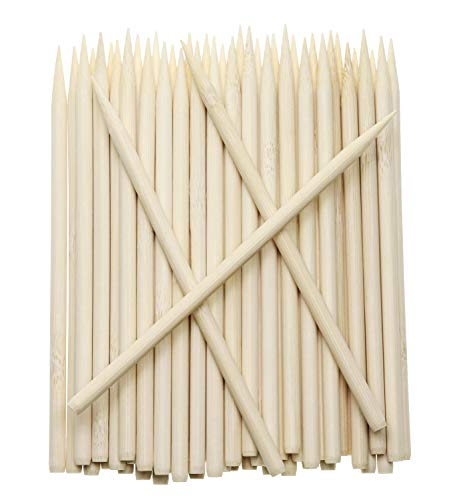 Penta Angel 55 inch Thick Bamboo Sticks for Cotton Candy Caramel Apple Natural Birch Wooden Corn Dog Cob Hotdog Sticks Sausage Meat Skewers for Cheesecake Cakepop Lollipops Fruit 100Pcs 100 pcs
