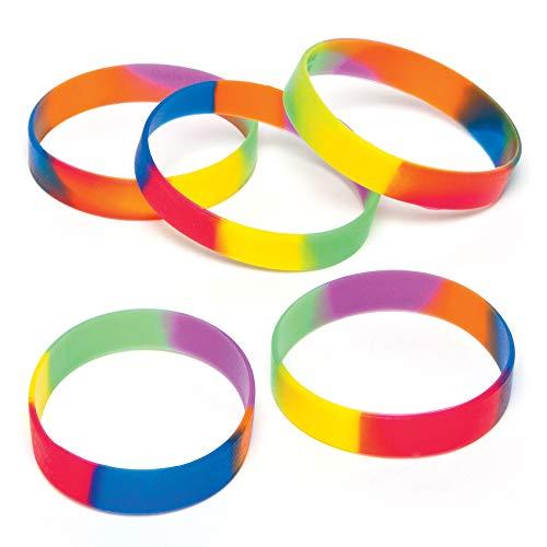 Baker Ross AG758 Regenbogen-Armbänder aus Gummi für Kinder als kleine Überraschung oder als Preis bei Partyspielen (10 Stück)