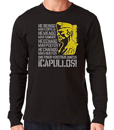 35mm - Camiseta Manga Larga El Sargento de Hierro - He Bebido Mas Cerveza - Divertida - Negro - Talla XL
