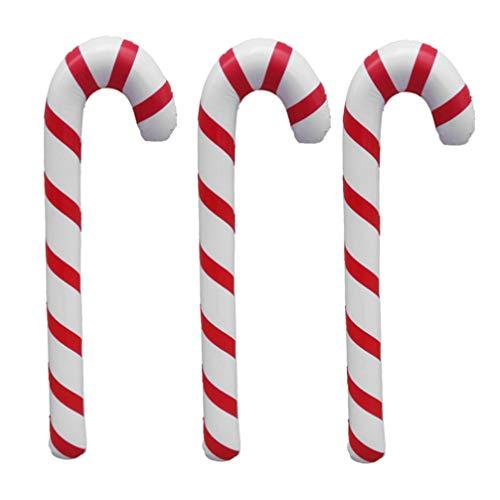 Tomaibaby 3 Stücke Aufblasbare Gehstock 87cm Weihnachten Zuckerstange Krücke Spielzeug Gehhilfe Stock Spazierstock Wanderstock Kostüm Zubehör Weihnachtsbaum Hängende Dekoration