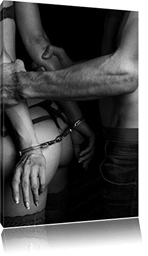 Pixxprint Sexy Frau in Handschellen als Leinwandbild | Größe: 100x70 cm | Wandbild| Kunstdruck | fertig bespannt