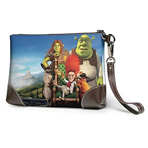 Shrek cuero embrague monederos bolsa tarjeta de teléfono carteras correa cremallera cuero suave muñeca embrague bolsas para mujeres hombres con ranuras cuero auténtico embrague embrague embrague