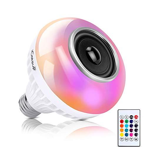bulb bluetooth speaker,E26 RGB Color Changing Light Bulb , 6W LED Bulb 24 Keys Remote Control