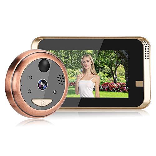 Sistema de intercomunicación con teléfono de puerta, 4.3In IR Wifi Videoportero Soporte de teléfono Smartphone Remoto Audio bidireccional Visión nocturna Detección PIR 720P Cámara de timbre con cable