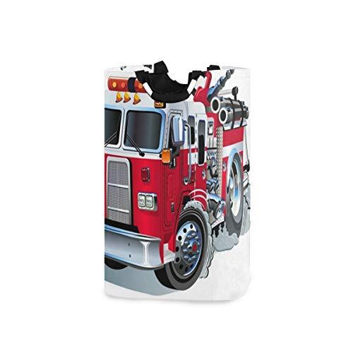 YUDILINSA Cesto de Lavandería,Camión de bomberos de dibujos animados,Plegable Cesto de Sucia Ropa Bolsas Almacenaje capacidad 52L con Asa para Dormitorio