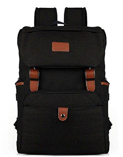 Stormiay Canvas Backpack Voyager Sac d'école Sac College pour Ados Filles Garçons (Noir)