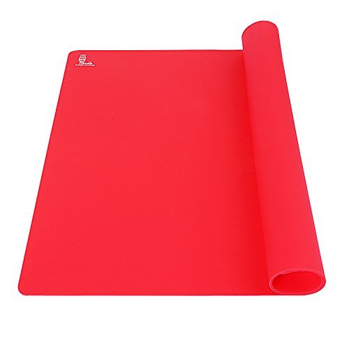 Super Kitchen Extra Large Multipurpose Silicone Nonstick Baking Mat, Pastry Mat, Heat Resistant Nonskid Table Mat, Countertop Protector, 23.4'' By 15.6'' (Red)