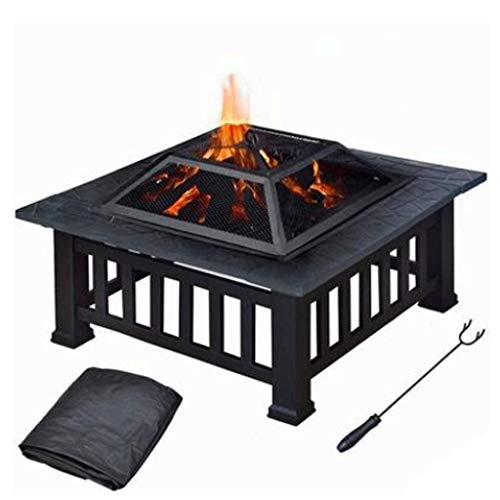 32' Fire Pit Outdoor Large Steel Wood Burning Decoration Fire Pits Bowl BBQ Grill Firepit for Backyard Garden Camping Bonfire Patio (Color : A)