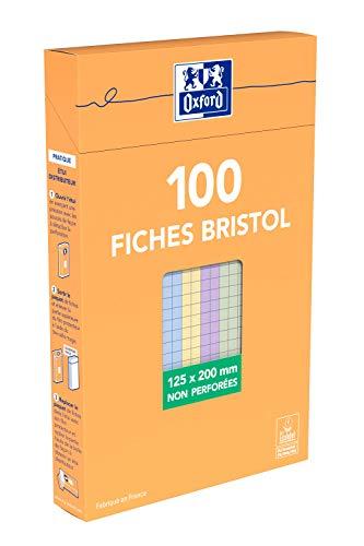 Oxford Etui de 100 Fiches Bristol colorées petits carreaux non perforées 12,5 x 20 cm