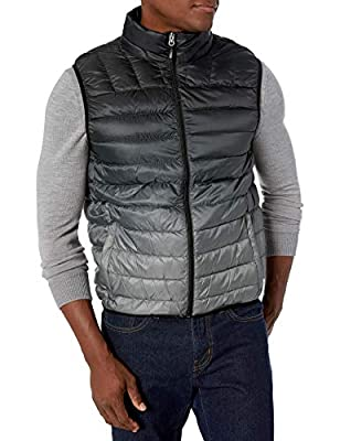 Hawke & Co Men's Lightweight Packable Down Vest | Wind and Rain Resistant All Season Shell, Ombre Black, Medium from Hawke & Co