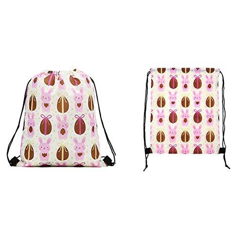SHOH Pasen boodschappentas opbergrugzak - schoudertassen leuk konijntje - Rads bedrukt polyester trekkoord rugzak opportune