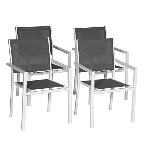 Happy Garden Lot de 4 chaises en Aluminium Blanc - textilène Gris