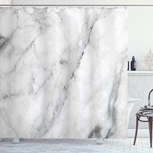 Marmor Duschvorhang, Granit Oberfläche Motiv mit Skizze Natur Effekt & Rissen Antik Stil Bild, Stoff Stoff Badezimmer Dekor Set mit Haken, 182,9 cm lang, Grau Staub Weiß