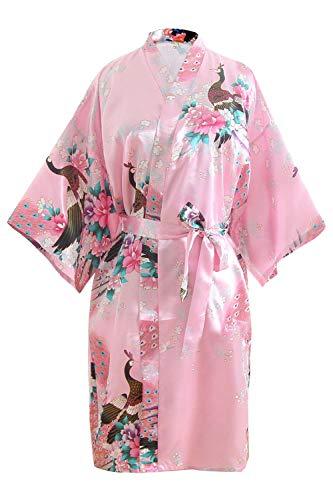OLESILK Damen Kurz Morgenmantel Satin Kimono Morgenrock Kurzarm Robe Bademantel mit Gürtel V-Ausschnitt Nachtwäsche Negligee mit Pfau und Blumen Muster, Rosa