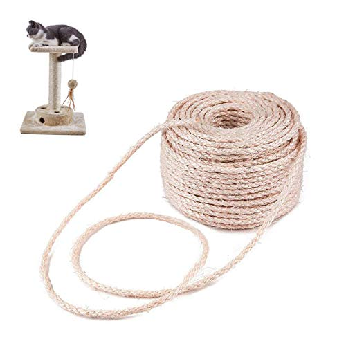Linifar 5mm 98FT Cat Natural Sisal Rope for Scratching Post Tree and Pad Replacement, DIY Scratcher Repairing Hemp Rope for Cat Tree and Tower