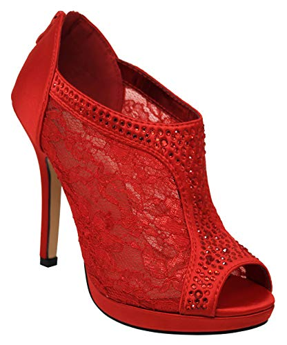 MVE Shoes Women's Lace Bridal High Heel Platform Peep Toe Shootie - Satin Lace Open Toe Cover Dress Pump - Lace High Heel Shootie with Flatback Crystals Red 7.5