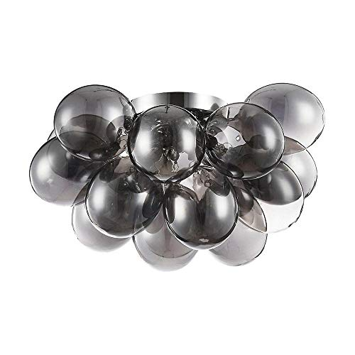 Moderne außergewöhnliche Deckenleuchte getönte schwarze Glaskugel, chromiertes Metall, 4 Halogenlampen G9 28W nicht inklusive