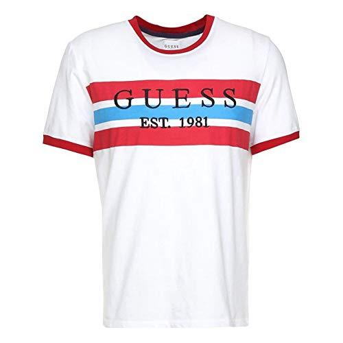 Guess M92I61 - Camiseta para hombre, color azul y rojo Blu-rosso S