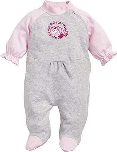 Playshoes Baby-Mädchen Schlafoverall Interlock Einhorn Schlafstrampler, Grau (Grau/Melange 37), 56