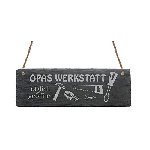 Schild « OPAS WERKSTATT » aus Schiefer - ca.22 x 8 cm - Türschild mit Motiv - Ideal als Geschenk