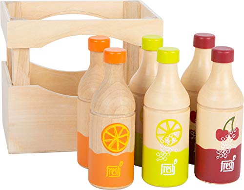 Small Foot 11739 Flaschenkiste Fresh aus Holz, Zubehör für den Kaufmannsladen, Rollenspielzeug für Kinder ab 3 Jahren Toys