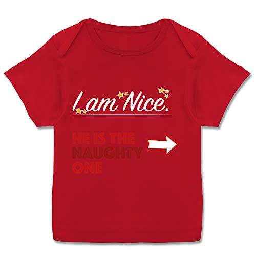 Weihnachten Baby - I am Nice. He is The Naughty one. - 56-62 - Rot - Spruch - E110B - Kurzarm Baby-Shirt für Jungen und Mädchen
