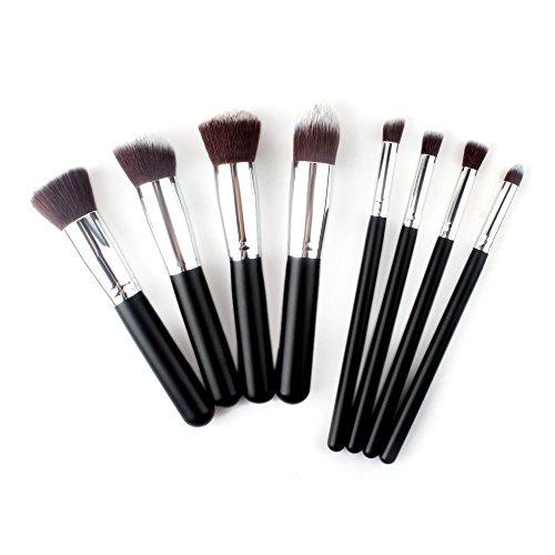 XUAN 8 brosses tube argenté professionnels composent brosse sertie de poignée noire sur le maquillage