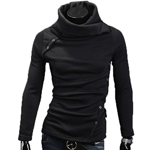 FCYOSO Mens Casual Slim Fit Button Point Knitted Pullover Sweaters (US,XL/Asia,2XL) Black