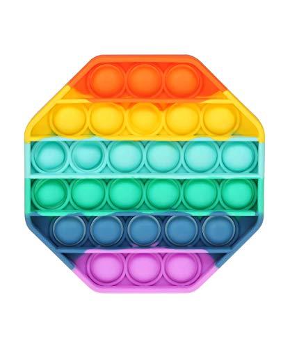 Bycc Bynn Brinquedos de apertar sensoriais com bolhas de pressão, autismo, TDAH, necessidades especiais, alívio do estresse, brinquedos sensoriais de silicone para alívio de pressão, brinquedo sensorial (octogon)