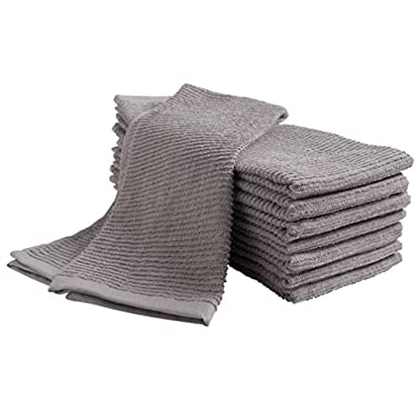 KAF Home Pantry Tumble Cotton Terry Dish Cloth (8 pack, 16 x 26), Ultra Absorbent, Home Decor, Kitchen Bar Towel set - Drizzle (Grey)