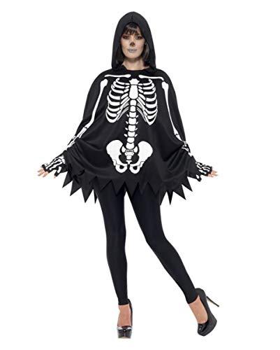 Horror-Shop Unisex Skelett Poncho mit Handschuhen als Überwurf für Halloween
