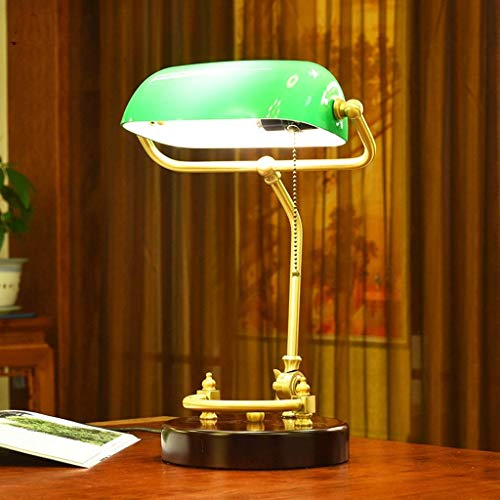 Lámpara Decorativa Lámpara De Escritorio De Mesa Iaizi Estilo Americano Diseño De Estilo Simple, Lámpara Administrativa De Banquero, Sombra De Vidrio Lámparas De Mesa Led De Latón Antiguo Hogar