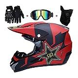 Casco de motocross con gafas de máscara, todo terreno, ATV Scooter casco de motocicleta, equipo de protección, casco MTB Downhill Enduro Quad Crash casco para niños y niñas, certificado D.O.T