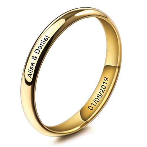 MeMeDIY 3mm Oro Dorado Tono Acero Inoxidable Anillo Ring Banda Venda Alianzas Boda Amor Love Talla Tamaño 30 - Grabado Personalizado