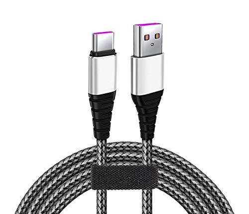 ZZHAO Cable USB C, 5A Cable USB Tipo C a USB A 2.0 Nylon Trenzado Carga Rápida para Samsung Galaxy S20 FE, S20 S10 S9 Note10, A20e, Xiaomi Redmi 9, Note 7, 8, Mi 9, A2, Mi 6, Pocophone F2, 1, 2M