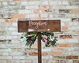 Not Branded Señal de flecha de recepción con estaca, flecha de madera rústica, cartel de recepción de boda o señalización