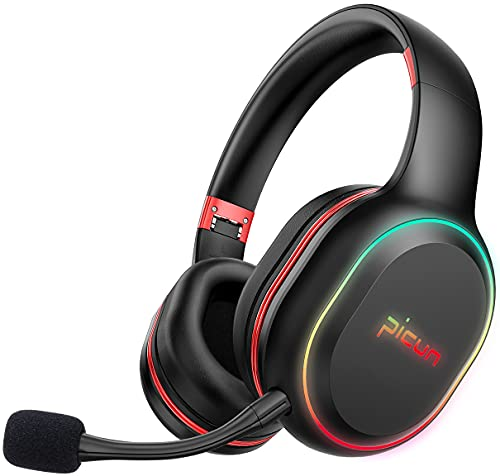 Picun P80-XH Wireless Bluetooth Gaming Headset, Dual-Driver Headphones for Cellphone, 3.5mm Cable Wired for X-Box, PS4, PS5, 30H Playtime with RGB Light, Hi-Fi Stereo Immersive Vibrating Gaming Sound