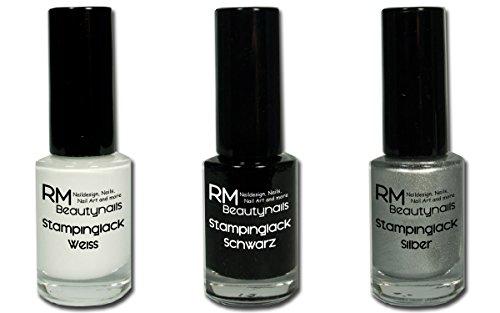 3x 5ml Stampinglack Weiss Schwarz Silber Nagellack Lack RM Beautynails