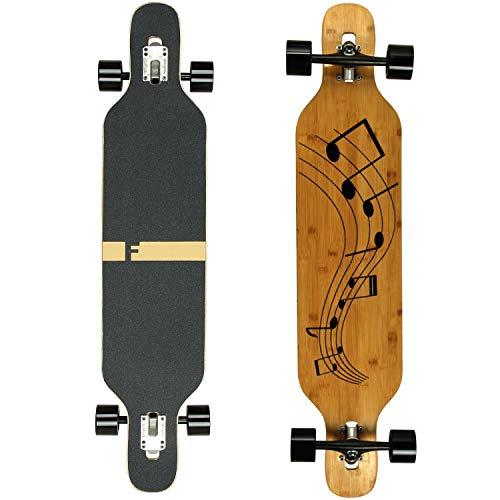 FunTomia Longboard Skateboard Drop Through Cruiser Komplettboard mit Mach1 High Speed Kugellager T-Tool mit und ohne LED Rollen (Mod. Camber - Bambus Musik)