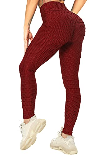 RIOJOY Leggings push-up para mujer, cintura alta, anticelulitis, pantalones de deporte y yoga C04 (Push Up Linie) - Vino S