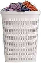 Mind Reader Basket Laundry Hamper with Cutout Handles, Washing Bin, Dirty Clothes Storage, Bathroom, Bedroom, Closet, 40 Liter, Ivory