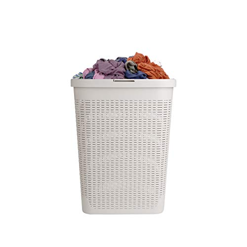 Mind Reader Basket Laundry Hamper with Cutout Handles Washing Bin Dirty Clothes Storage Bathroom Bedroom Closet 40 Liter Ivory
