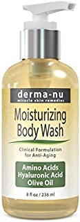 Moisturizing Body Wash By Derma-nu - Hydrating Foaming Wash Enriched with Amino Acids, Hyaluronic Acid, Olive Oil - 8oz