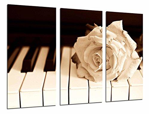 Cuadro Fotográfico Piano y Rosa Blanca, Decoracion Romantica Tamaño total: 97 x 62 cm XXL