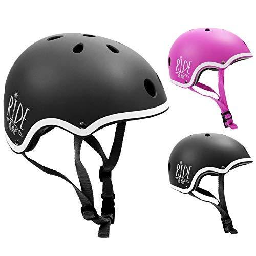 SMJ – Casco de bicicleta para niños de tamaño ajustable, para patines en línea, patines en línea, bicicleta, para niños y niñas (negro, XS (51-53 cm)