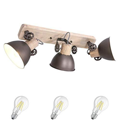 STEINHAUER 2133A Anthrazit Deckenlampe Vintage Industrie Lampe Wandleuchte 3 flammig,Edison Retro 7W LED !