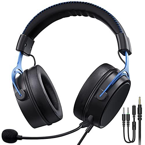 Cuffie Gaming per PS5 PS4, PC, Xbox One, Audio surround 7.1, Microfono con Cancellazione del Rumore, Cuffie da Gioco con 3.5MM Jack per Switch/Mac/Laptop, Blu