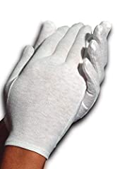 Comfortable 100% cotton gloves; aids the absorption of hand creams and ointments to prevent dry hands Hypoallergenic and can also be used to conceal skin disorders; prevents staining of fabrics and clothing Great value as machine washable and reusabl...